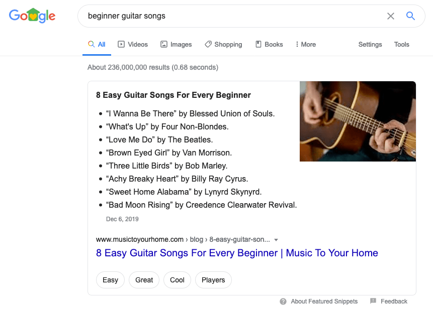 Featured Snippet - Beginner Guitar Songs