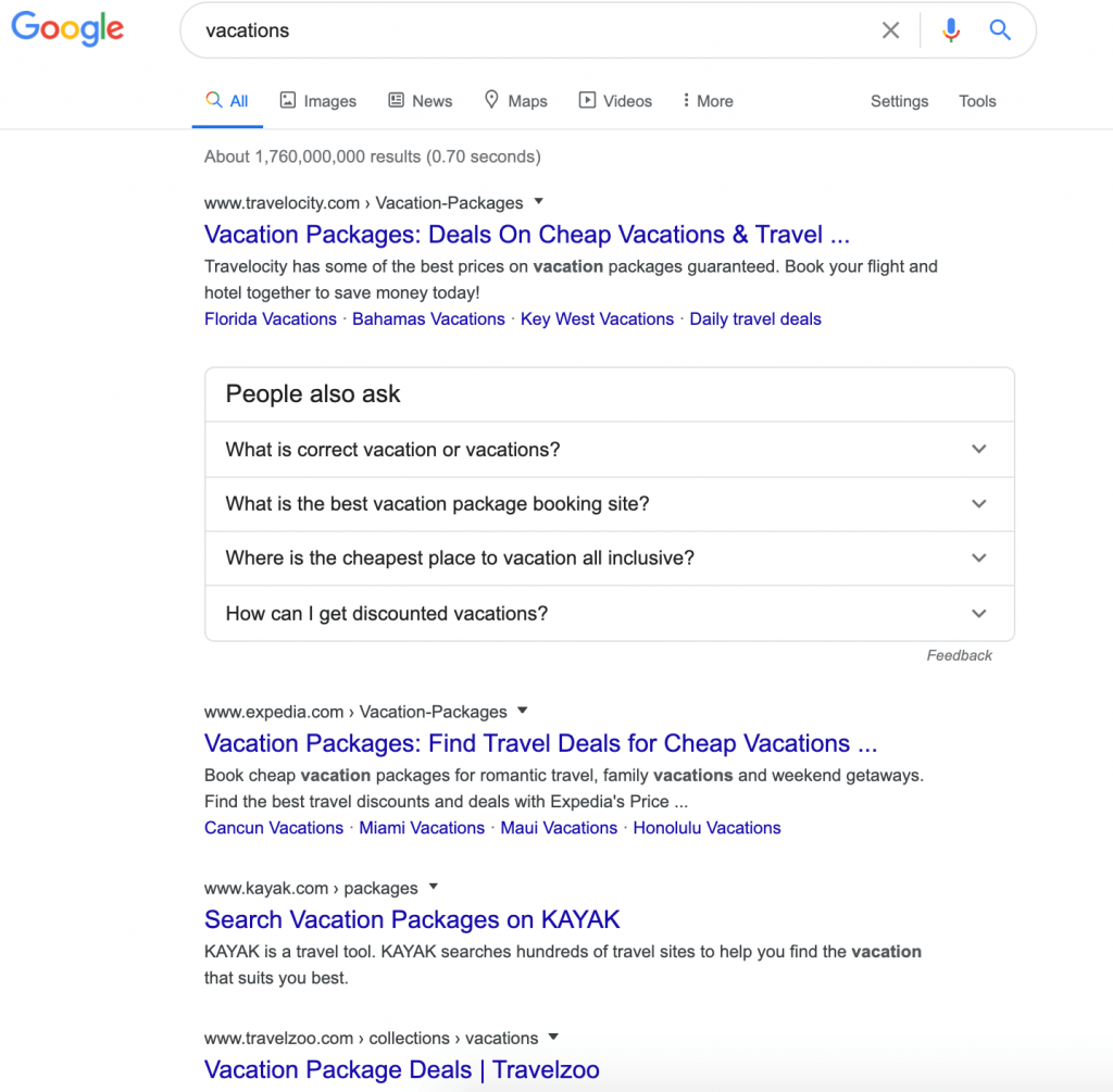 Competitive Analysis of Search Results
